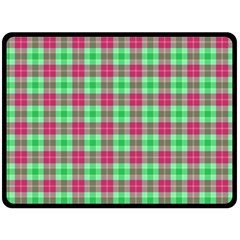 Pink Green Plaid Double Sided Fleece Blanket (large)  by snowwhitegirl
