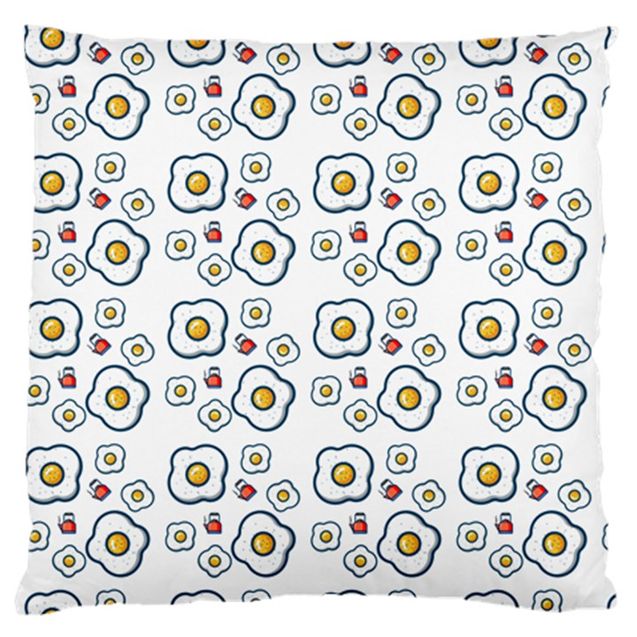 Eggs White Large Flano Cushion Case (One Side)