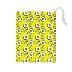 Eggs Yellow Drawstring Pouch (large)