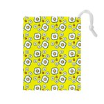 Eggs Yellow Drawstring Pouch (Large) Front
