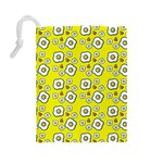 Eggs Yellow Drawstring Pouch (Large) Back