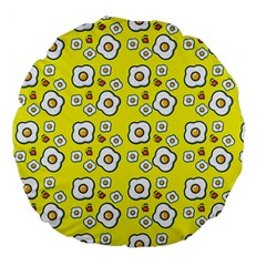 Eggs Yellow Large 18  Premium Flano Round Cushions by snowwhitegirl
