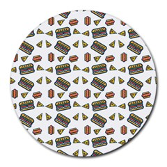 Fast Food White Round Mousepads by snowwhitegirl