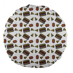 Fast Food White Large 18  Premium Round Cushions by snowwhitegirl