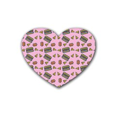 Fast Food Pink Heart Coaster (4 Pack)