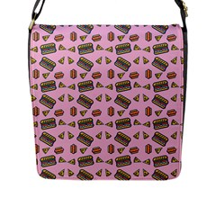Fast Food Pink Flap Closure Messenger Bag (l)