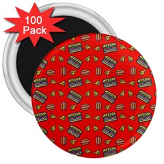 Fast Food Red 3  Magnets (100 Pack)