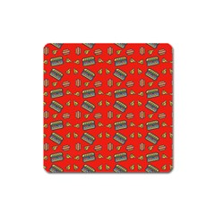 Fast Food Red Square Magnet by snowwhitegirl