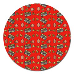 Fast Food Red Magnet 5  (round)