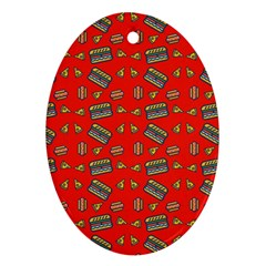 Fast Food Red Oval Ornament (two Sides)