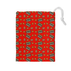 Fast Food Red Drawstring Pouch (large) by snowwhitegirl