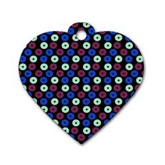 Eye Dots Blue Magenta Dog Tag Heart (one Side)