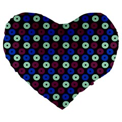 Eye Dots Blue Magenta Large 19  Premium Flano Heart Shape Cushions by snowwhitegirl