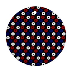 Eye Dots Red Blue Round Ornament (two Sides) by snowwhitegirl