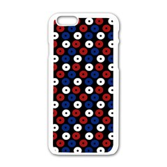 Eye Dots Red Blue Apple Iphone 6/6s White Enamel Case by snowwhitegirl