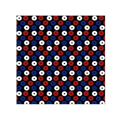 Eye Dots Red Blue Small Satin Scarf (square) by snowwhitegirl