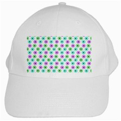 Eye Dots Green Violet White Cap