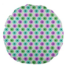 Eye Dots Green Violet Large 18  Premium Round Cushions
