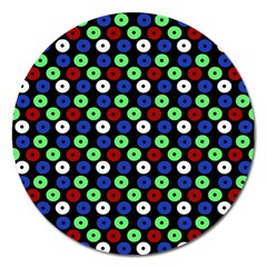 Eye Dots Green Blue Red Magnet 5  (round) by snowwhitegirl