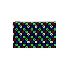 Eye Dots Green Blue Red Cosmetic Bag (small) by snowwhitegirl