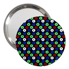 Eye Dots Green Blue Red 3  Handbag Mirrors by snowwhitegirl