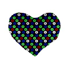 Eye Dots Green Blue Red Standard 16  Premium Flano Heart Shape Cushions