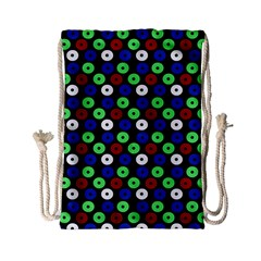 Eye Dots Green Blue Red Drawstring Bag (small) by snowwhitegirl