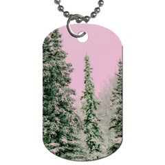 Winter Trees Pink Dog Tag (two Sides) by snowwhitegirl