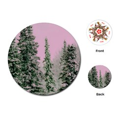 Winter Trees Pink Playing Cards (round)  by snowwhitegirl