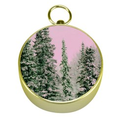 Winter Trees Pink Gold Compasses by snowwhitegirl