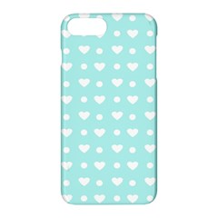 Hearts Dots Blue Apple Iphone 7 Plus Hardshell Case