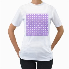 Hearts Dots Purple Women s T-shirt (white) (two Sided)
