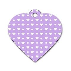 Hearts Dots Purple Dog Tag Heart (two Sides) by snowwhitegirl