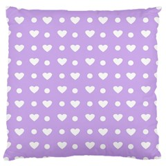 Hearts Dots Purple Large Cushion Case (one Side)