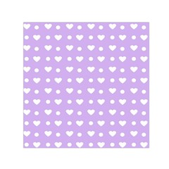Hearts Dots Purple Small Satin Scarf (square)