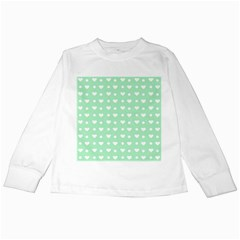 Hearts Dots Green Kids Long Sleeve T-shirts