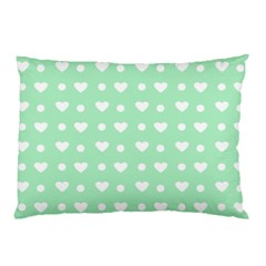 Hearts Dots Green Pillow Case by snowwhitegirl