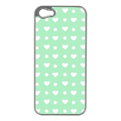 Hearts Dots Green Apple Iphone 5 Case (silver) by snowwhitegirl
