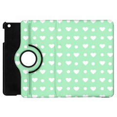 Hearts Dots Green Apple Ipad Mini Flip 360 Case by snowwhitegirl