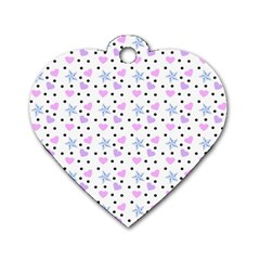 Hearts And Star Dot White Dog Tag Heart (two Sides) by snowwhitegirl