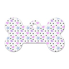 Hearts And Star Dot White Dog Tag Bone (one Side) by snowwhitegirl