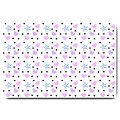 Hearts And Star Dot White Large Doormat  by snowwhitegirl