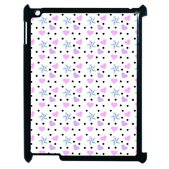 Hearts And Star Dot White Apple Ipad 2 Case (black) by snowwhitegirl