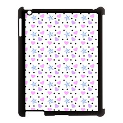 Hearts And Star Dot White Apple Ipad 3/4 Case (black) by snowwhitegirl