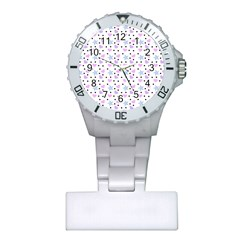 Hearts And Star Dot White Plastic Nurses Watch by snowwhitegirl