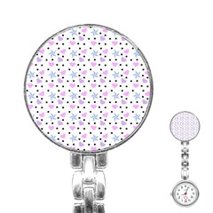 Hearts And Star Dot White Stainless Steel Nurses Watch by snowwhitegirl