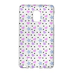 Hearts And Star Dot White Samsung Galaxy Note Edge Hardshell Case by snowwhitegirl