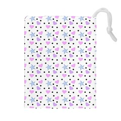 Hearts And Star Dot White Drawstring Pouch (xl) by snowwhitegirl