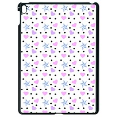 Hearts And Star Dot White Apple Ipad Pro 9 7   Black Seamless Case