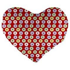 Eye Dots Red Pastel Large 19  Premium Flano Heart Shape Cushions by snowwhitegirl